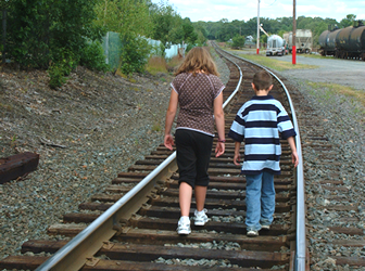 Kids on tracks