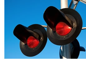 A railroad stoplight.