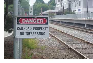 A no trespassing railroad sign.