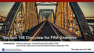 Section 106 Overview for FRA Grantees webinar presentation cover page