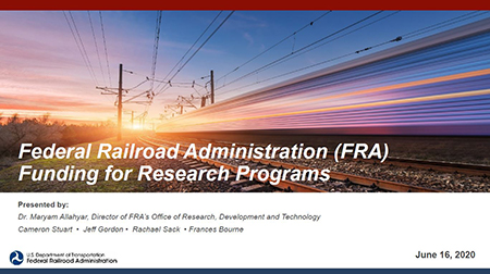 Federal Railroad Administration (FRA) Funding for Research Programs Webinar